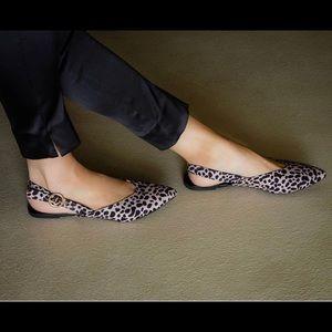 Nude Leopard Pointed Toe Slingback Ballerina Flats